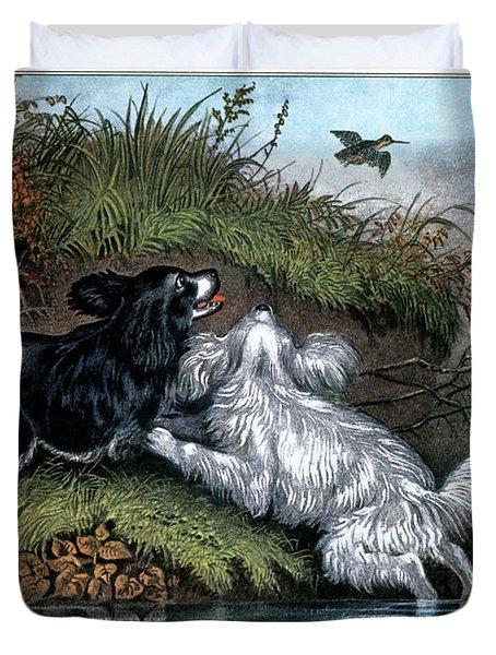 1860s Two Spaniel Dogs Flushing Duvet Cover