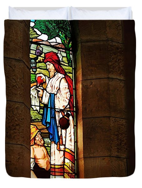 1865 - St. Jude's Church  - Stained Glass Window Duvet Cover by Kaye Menner
