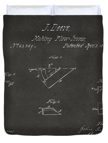 1867 John Deere Plow Irons Patent Gray H Duvet Cover