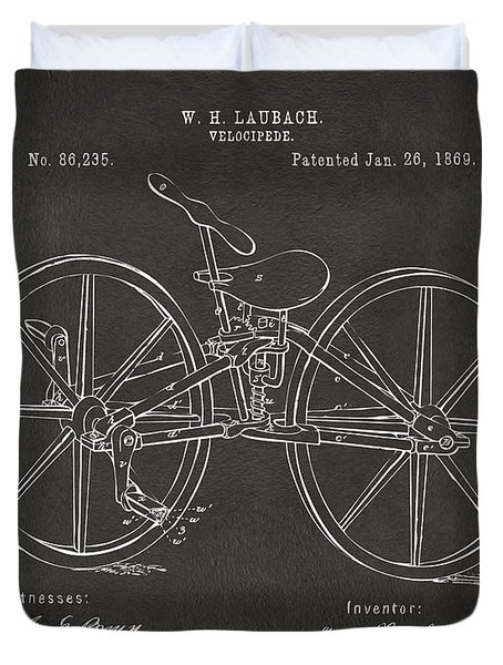 1869 Velocipede Bicycle Patent Artwork - Gray Duvet Cover