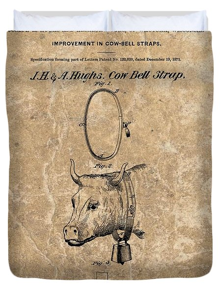 1871 Cow Bell Strap Patent Duvet Cover