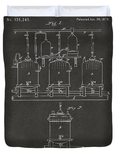 1873 Brewing Beer And Ale Patent Artwork - Gray Duvet Cover