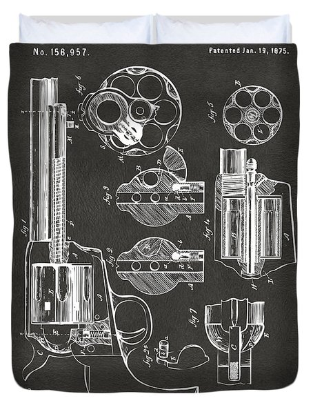 Duvet Cover featuring the digital art 1875 Colt Peacemaker Revolver Patent Artwork - Gray by Nikki Marie Smith