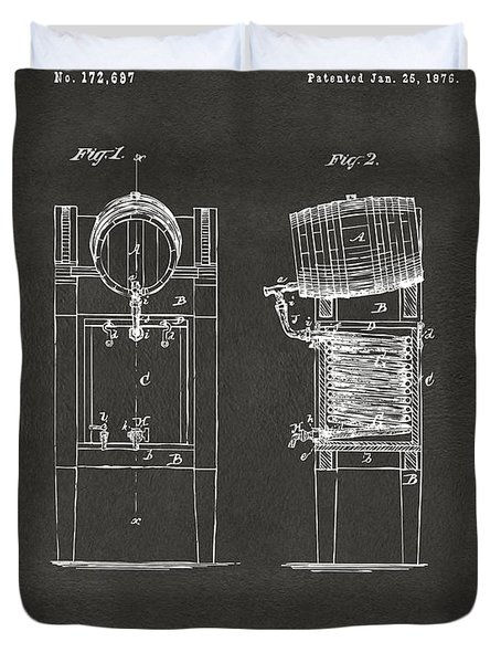 1876 Beer Keg Cooler Patent Artwork - Gray Duvet Cover