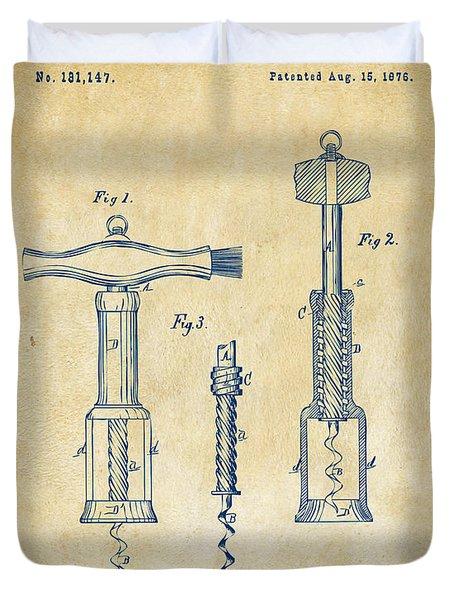 1876 Wine Corkscrews Patent Artwork - Vintage Duvet Cover by Nikki Marie Smith