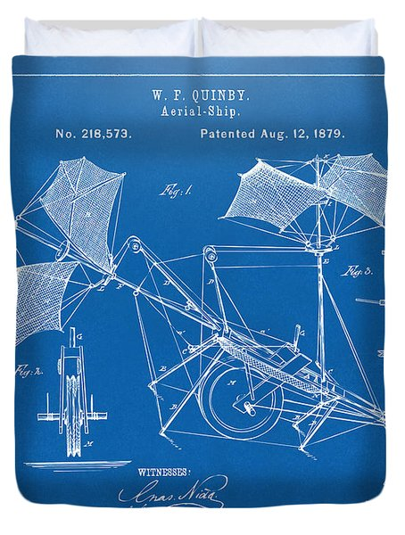 1879 Quinby Aerial Ship Patent - Blueprint Duvet Cover by Nikki Marie Smith