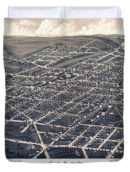 1880 Birds Eye Map Of Ann Arbor Duvet Cover