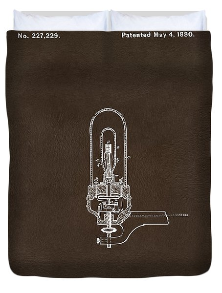 Duvet Cover featuring the drawing 1880 Edison Electric Lights Patent Artwork Espresso by Nikki Marie Smith