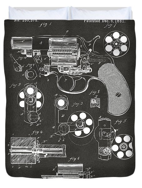 1881 Colt Revolving Fire Arm Patent Artwork - Gray Duvet Cover