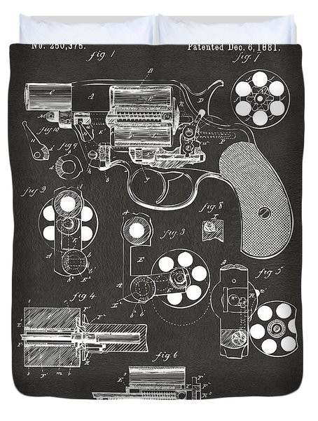 Duvet Cover featuring the digital art 1881 Colt Revolving Fire Arm Patent Artwork - Gray by Nikki Marie Smith