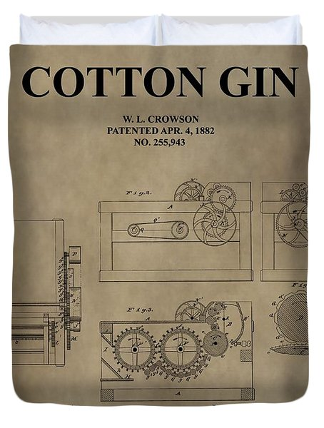 1882 Cotton Gin Patent Duvet Cover