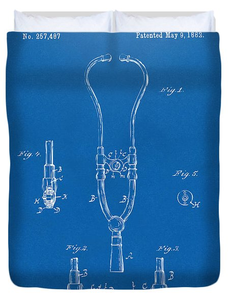 1882 Doctor Stethoscope Patent - Blueprint Duvet Cover