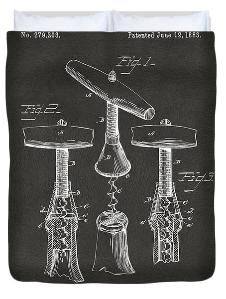 1883 Wine Corckscrew Patent Artwork - Gray Duvet Cover