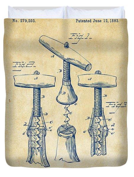 1883 Wine Corckscrew Patent Artwork - Vintage Duvet Cover by Nikki Marie Smith