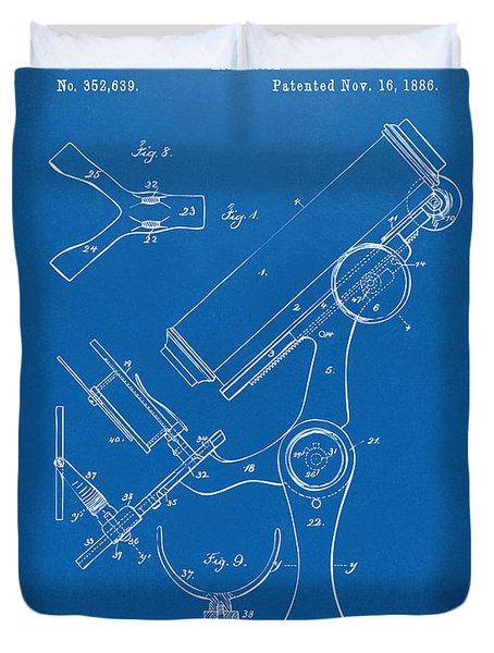 1886 Microscope Patent Artwork - Blueprint Duvet Cover
