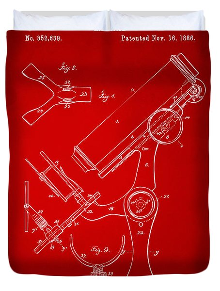 1886 Microscope Patent Artwork - Red Duvet Cover by Nikki Marie Smith