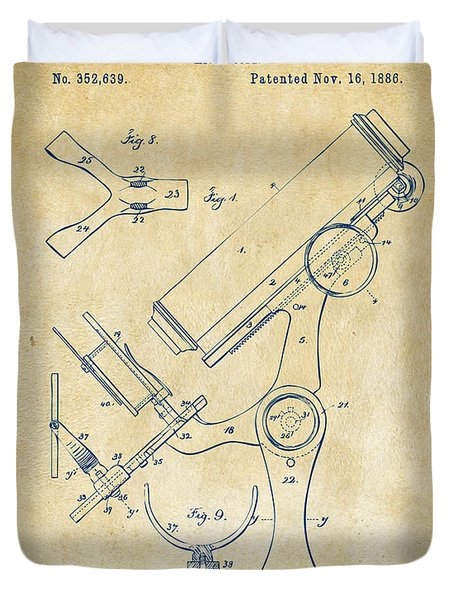 1886 Microscope Patent Artwork - Vintage Duvet Cover by Nikki Marie Smith