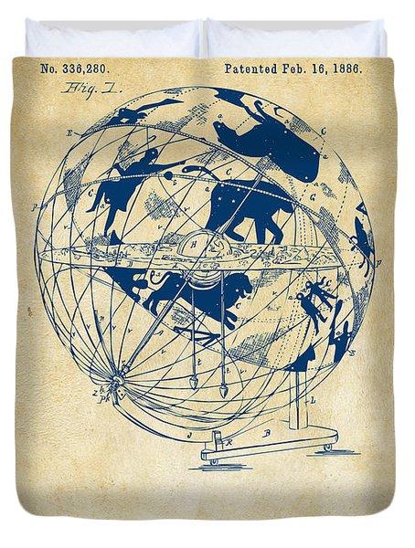 1886 Terrestro Sidereal Globe Patent Artwork - Vintage Duvet Cover
