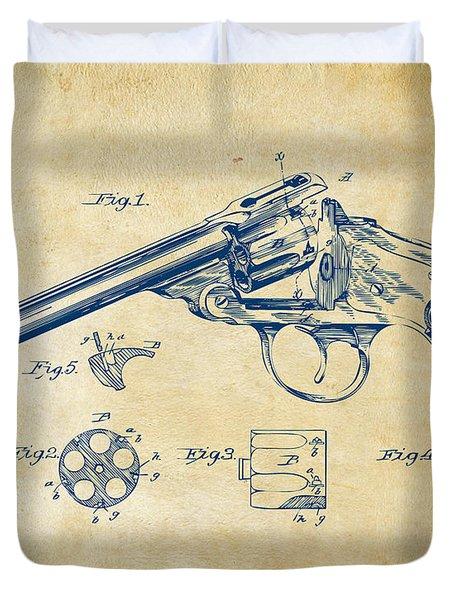 1889 Wesson Revolver Patent Minimal - Vintage Duvet Cover