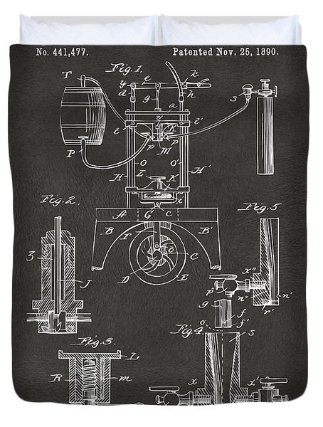 1890 Bottling Machine Patent Artwork Gray Duvet Cover