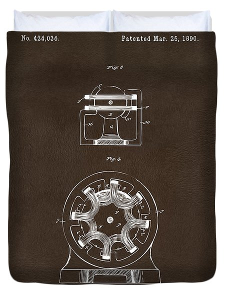 Duvet Cover featuring the drawing 1890 Tesla Motor Patent Espresso by Nikki Marie Smith
