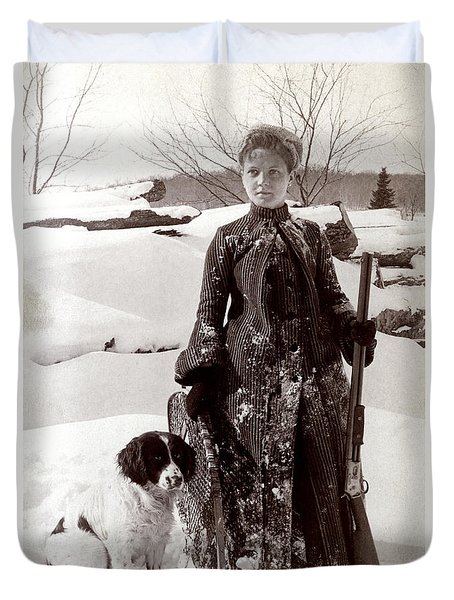 1890 Woman And Her Hunting Dog Duvet Cover