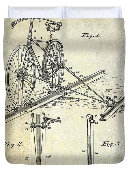 1891 Bicycle Patent Drawing Duvet Cover