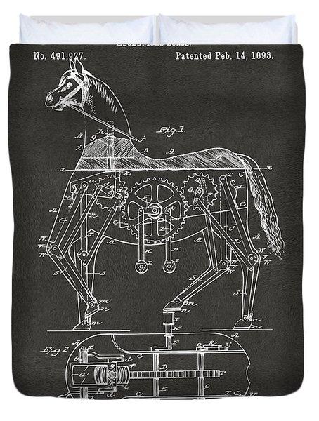 1893 Mechanical Horse Toy Patent Artwork Gray Duvet Cover