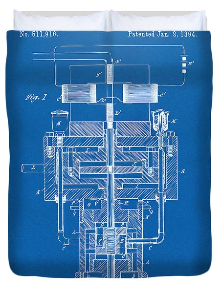 Duvet Cover featuring the drawing 1894 Tesla Electric Generator Patent Blueprint by Nikki Marie Smith