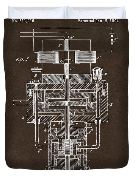 Duvet Cover featuring the drawing 1894 Tesla Electric Generator Patent Espresso by Nikki Marie Smith