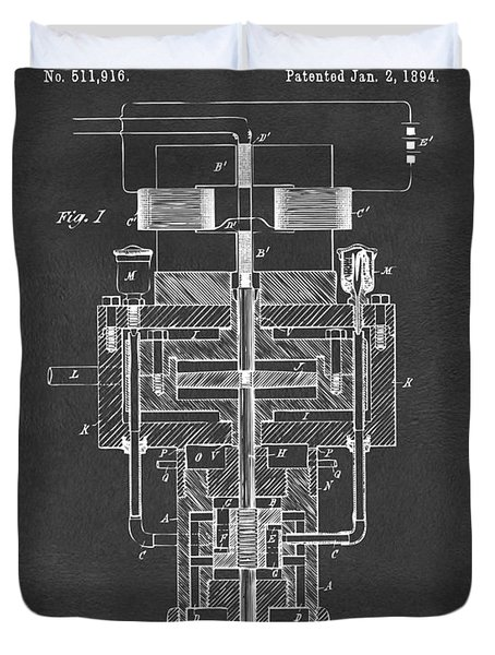 Duvet Cover featuring the drawing 1894 Tesla Electric Generator Patent Gray by Nikki Marie Smith