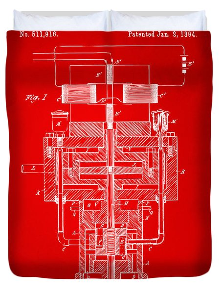 Duvet Cover featuring the drawing 1894 Tesla Electric Generator Patent Red by Nikki Marie Smith
