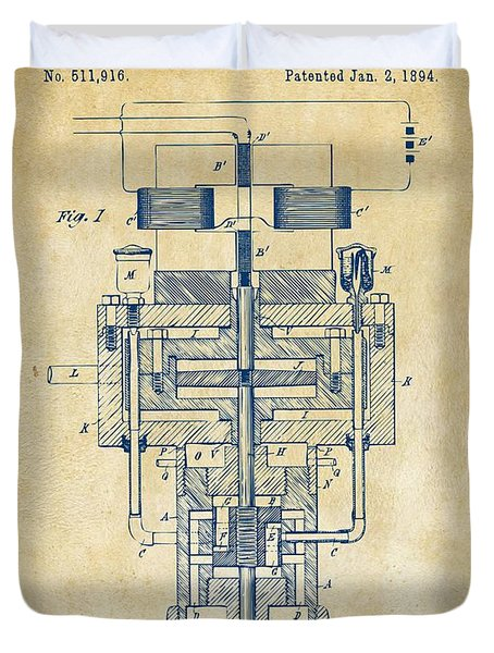 Duvet Cover featuring the drawing 1894 Tesla Electric Generator Patent Vintage by Nikki Marie Smith