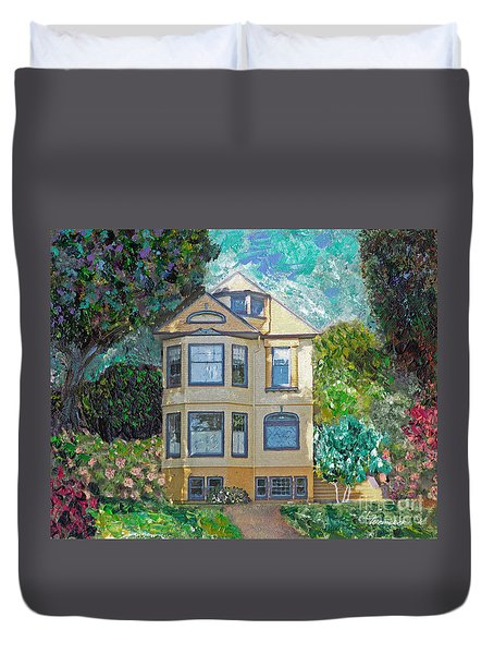 Duvet Cover featuring the mixed media Alameda 1895 Quenn Anne by Linda Weinstock