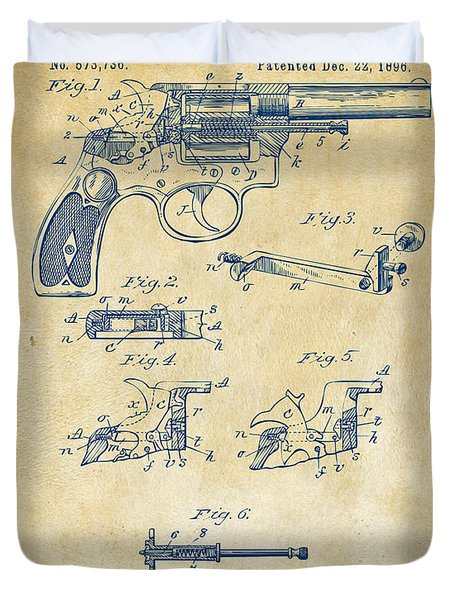 1896 Wesson Safety Device Revolver Patent Artwork - Vintage Duvet Cover