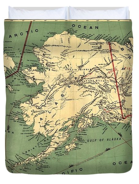 Duvet Cover featuring the photograph 1897 Map Of Alaska by Charles Beeler