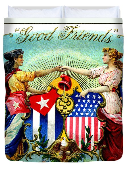1898 Good Friends Cuban Cigars Duvet Cover by Historic Image