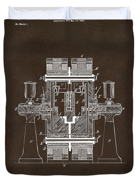 Duvet Cover featuring the drawing 1898 Tesla Electric Circuit Patent Artwork Espresso by Nikki Marie Smith