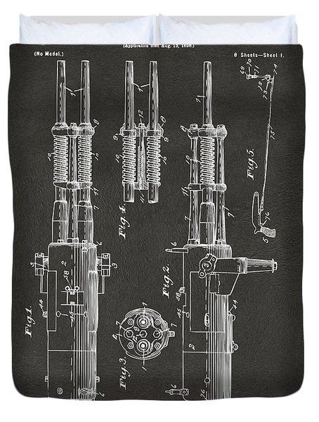 1899 Garland Automatic Machine Gun Patent Artwork - Gray Duvet Cover
