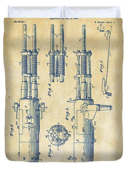 1899 Garland Automatic Machine Gun Patent Artwork - Vintage Duvet Cover