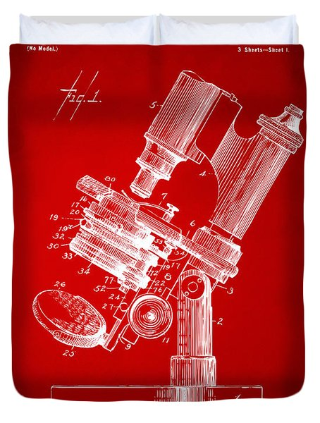 1899 Microscope Patent Red Duvet Cover