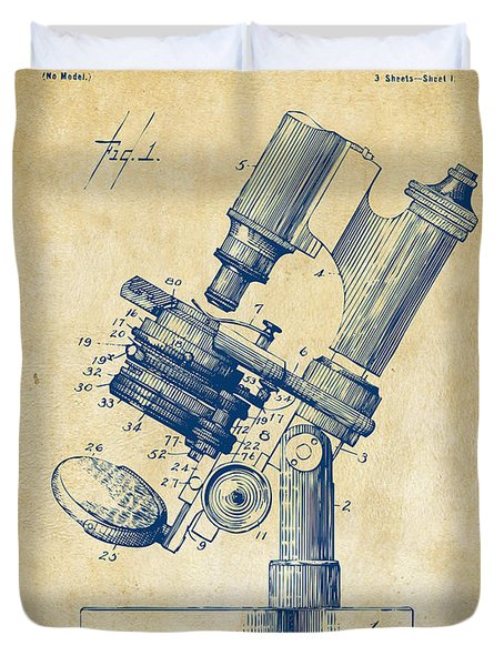Duvet Cover featuring the digital art 1899 Microscope Patent Vintage by Nikki Marie Smith