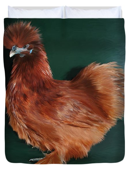 19. Red Silkie Hen Duvet Cover