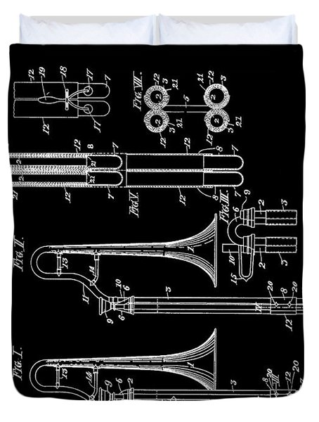 1901 Trombone Patent Duvet Cover by Dan Sproul