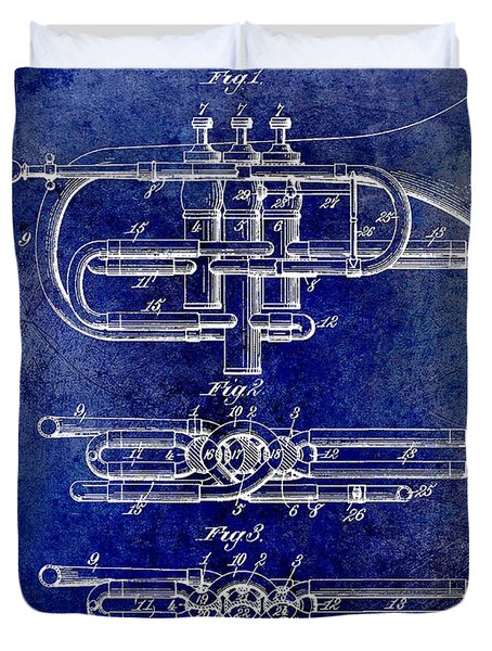 1901 Wind Musical Instrument Patent Drawing Blue Duvet Cover