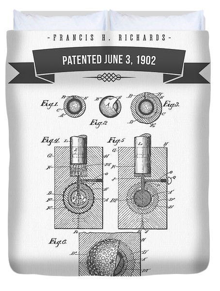 1902 Golf Ball Patent Drawing - Retro Gray Duvet Cover by Aged Pixel