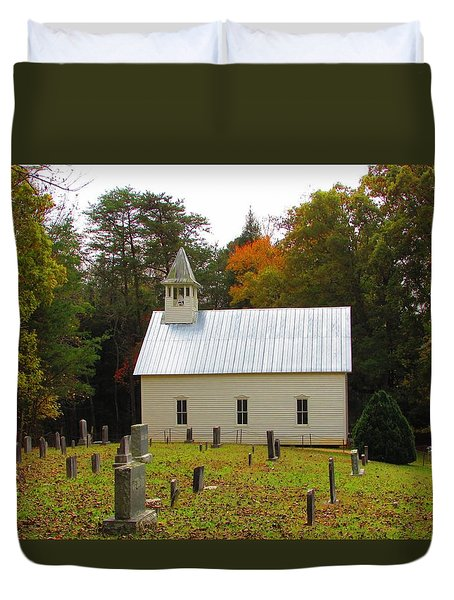 Cade's Cove 1902 Methodist Church Duvet Cover by Kathy Long