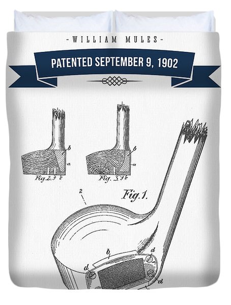 1902 Mules Golf Club Patent Drawing - Retro Navy Blue Duvet Cover by Aged Pixel