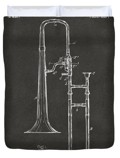 1902 Slide Trombone Patent Artwork - Gray Duvet Cover