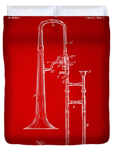 1902 Slide Trombone Patent Artwork Red Duvet Cover by Nikki Marie Smith